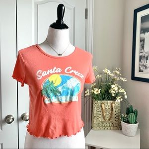 Awake Santa Cruz California Ruffle Hem Crop Top